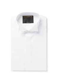 Favourbrook White Slim Fit Wing Collar Double Cuff Cotton Poplin Shirt