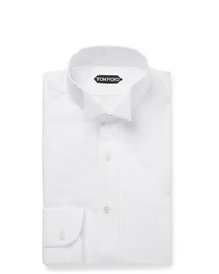 Tom Ford White Slim Fit Wing Collar Pleated Bib Front Cotton Tuxedo Shirt