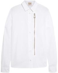 Tod's Zip Detailed Cotton Poplin Shirt