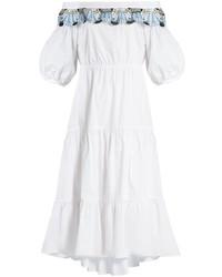 Peter Pilotto Off The Shoulder Macram Lace Trimmed Cotton Dress