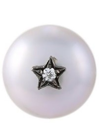 Superstellar pearl and diamond stud earring medium 690654