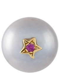 Superstellar pearl and sapphire stud earring medium 690534