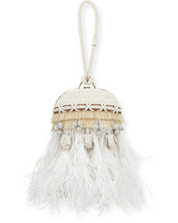 White Embellished Leather Clutch