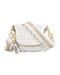 White Embellished Leather Crossbody Bag