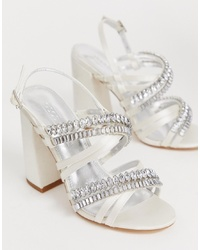 ASOS DESIGN Honeymoon Embellished Block Heeled Sandals In Ivory