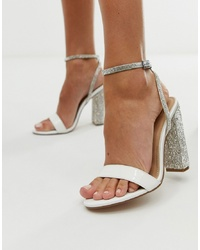 ASOS DESIGN Hot Step Embellished Block Heeled Sandals