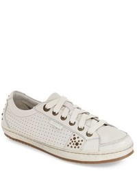 White Embellished Leather Low Top Sneakers