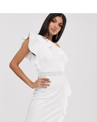 TFNC Tall One Shoulder Ruffle Mini Dress With Embellished Waistband
