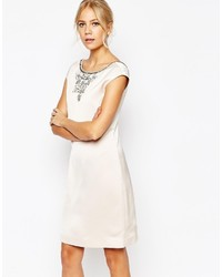 White Embellished Shift Dress
