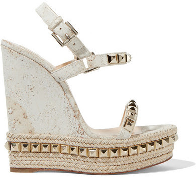 super popular 25363 c884c £635, Christian Louboutin Cataclou 140 Embellished Cork Wedge Sandals Off  White