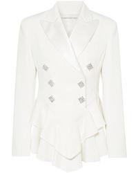 Alessandra Rich Crystal Embellished Satin Trimmed Wool Crepe Peplum Blazer