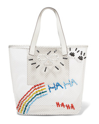White Embroidered Canvas Tote Bag