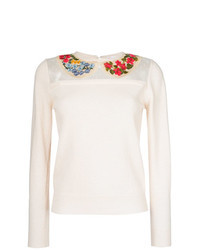 White Embroidered Crew-neck Sweater
