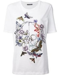 Alexander McQueen Moth And Skull Embroidered T Shirt