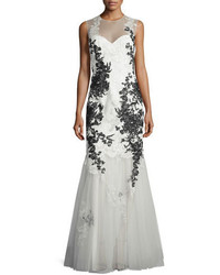 White Embroidered Evening Dress