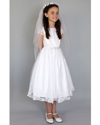 Us Angels Embroidered Satin Dress