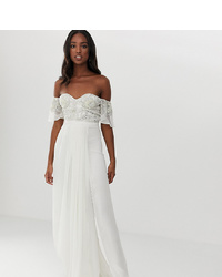 Virgos Lounge Tall Off Shoulder Embellished Top Maxi Dress With Pleated Skirt In Ecru