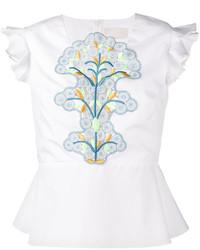 Peter Pilotto Sleeveless Embroidered Peplum Top
