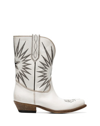 Golden Goose Deluxe Brand White Wish Star Leather Cowboy Boots