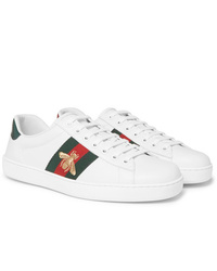 Gucci Ace Watersnake Trimmed Embroidered Leather Sneakers