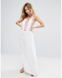 2acdadf9cc Liquorish Embroidered Beach Maxi Dress With Embroidered Hem And Coin Trim