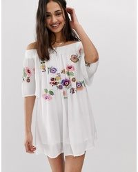En Creme Bardot Mini Dress With Embroidery