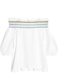 Peter Pilotto Petra Off The Shoulder Embroidered Cotton Poplin Top