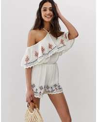 En Creme Off Shoulder Playsuit With Ruffle And Embroidered Detail