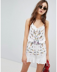 Glamorous Sleeveless Playsuit With Frill Hem And Embroidery