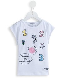 Simonetta Embroidered Cat And Number Detail T Shirt
