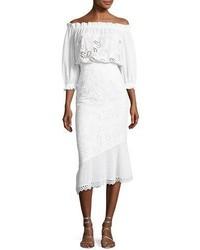 White Eyelet Off Shoulder Dress