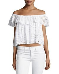 White Eyelet Off Shoulder Top