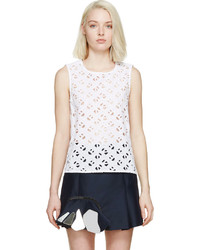 White Eyelet Sleeveless Top