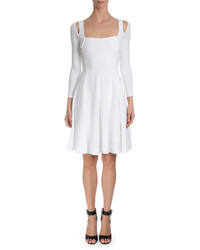 Givenchy Textured Wave Fit  Flare Dress White