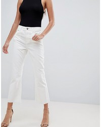 ASOS DESIGN Egerton Rigid Cropped Flare Jeans In Chalk White Cord In Raw Hem