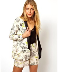 Asos Collection Blazer In Floral Print With Contrast Lapel