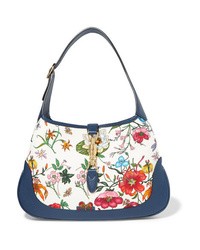 Gucci Jackie Hobo Medium Floral Print Canvas And Textured Leather Shoulder Bag
