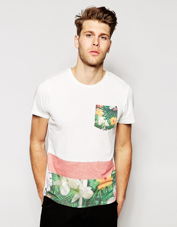 1ae9039fab05ca ... Jack and Jones Jack Jones T Shirt With Floral Print Pocket Hem ...