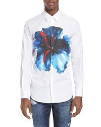 Blue hibiscus extra trim fit floral print sport shirt medium 572864