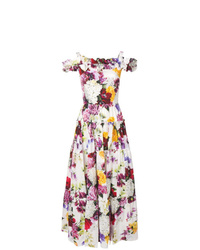 Dolce & Gabbana Floral Cold Shoulder Maxi Dress