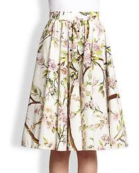 White Floral Full Skirt