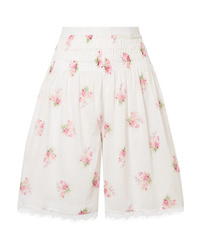 Brock Collection Scarlett Lace Trimmed Shirred Floral Print Cotton Voile Shorts