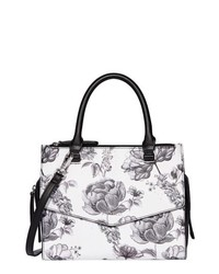White Floral Leather Satchel Bag
