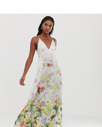 Asos Tall Asos Design Tall Cami Satin Trapeze Maxi Dress In Meadow Floral Print