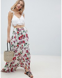 ASOS DESIGN Crinkle Maxi Skirt With Detail In Print