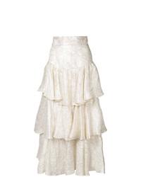 Bambah Gold Lam Ruffle Skirt