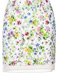 White Floral Mini Skirt