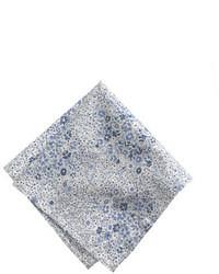 Cotton pocket square in blue floral medium 19405