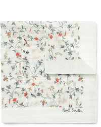 Paul Smith Floral Print Cotton And Silk Blend Pocket Square
