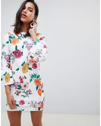 ASOS DESIGN Botanical Shift Mini Dress With Fluted Sleeves
